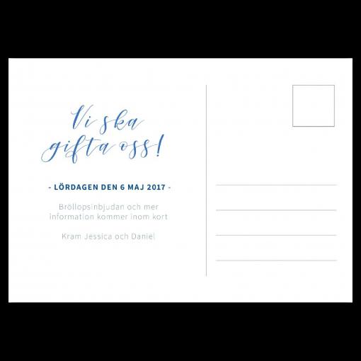 save the date akvarell blå vykort baksida