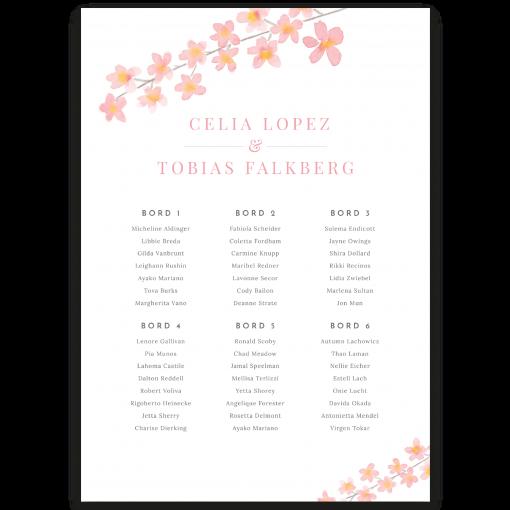 Bordsplaceringskarta till bröllop