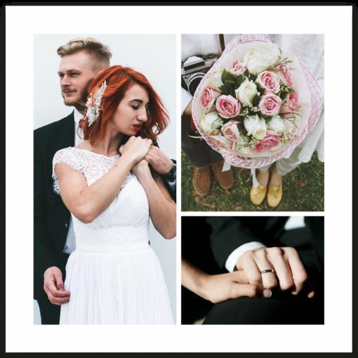 tackkort bröllop insida med tre bilder