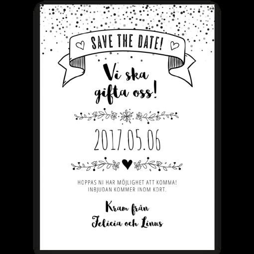 save the date kort vintage