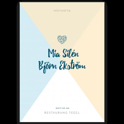 Festprogram bröllop Soft Blue and yellow