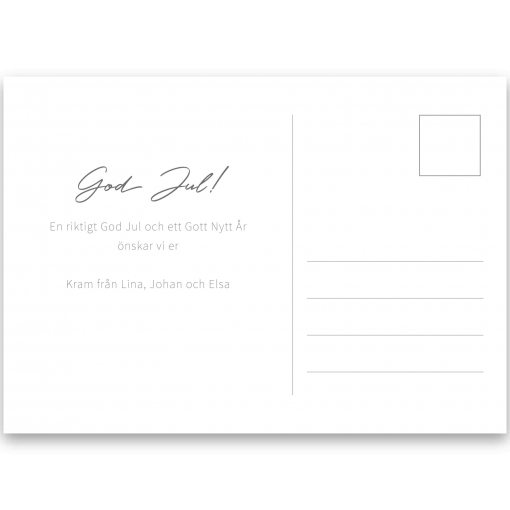 Baksida julkort vykort