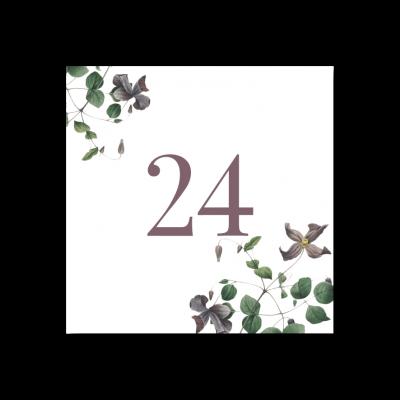 Bordsnummer bröllop vintage clematis 24-01