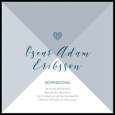 Inbjudningskort till dop och namngivning greyish blue