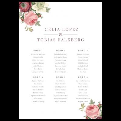 Bordsplaceringskarta till bröllop vintage bouquet