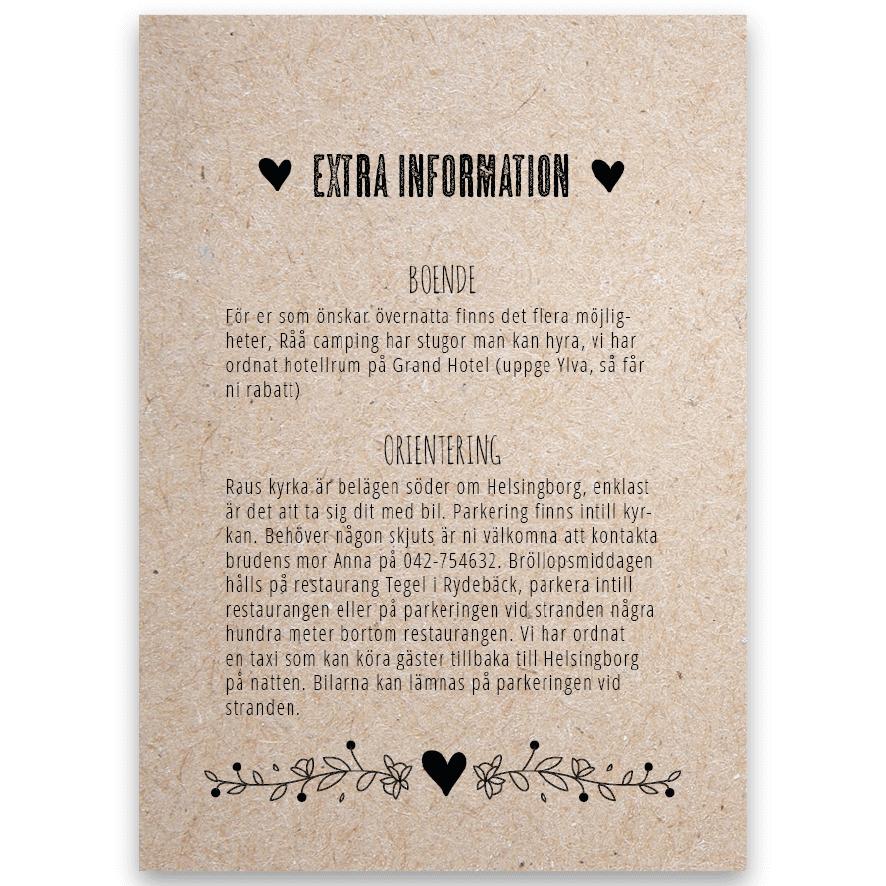 Extra informationsblad till bröllopsinbjudan