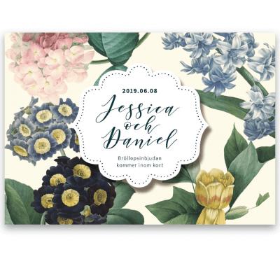 Save the date kort till bröllop vintage flowers blonde-01