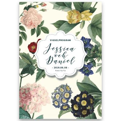 Vigselprogram Vintage Flowers Blonde