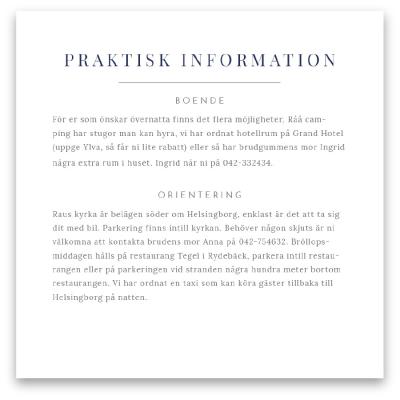 Extra information blad till bröllop