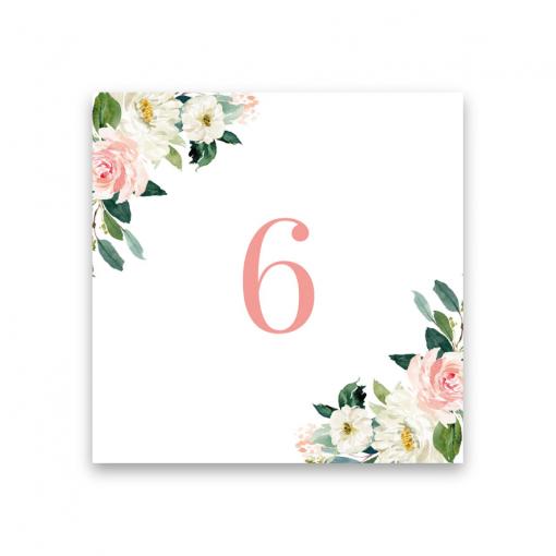 bordsnummer blush white rose