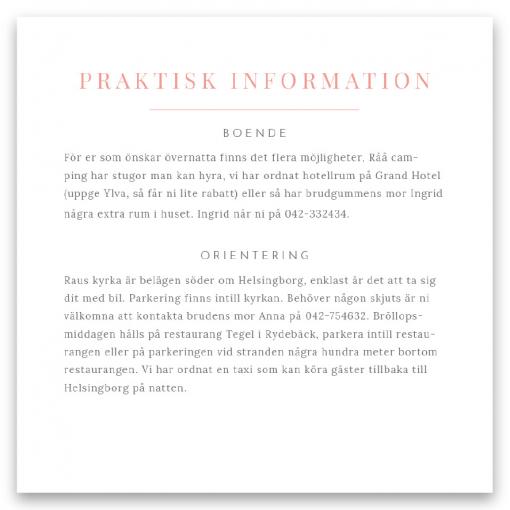Praktisk information bröllop blush white