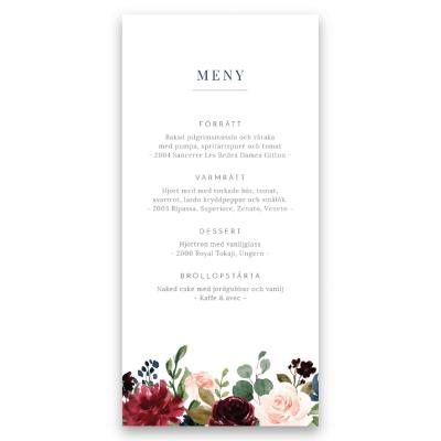 Meny till bröllop burgundy blush flowers
