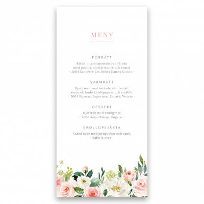 Menykort till bröllop blush white flowers