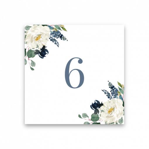bordsnummer blommor dusty blue