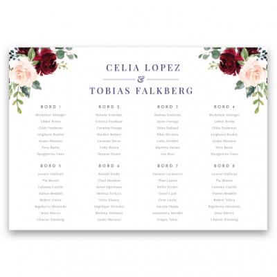 bordsplaceringskarta till bröllop burgundy, blush, navy
